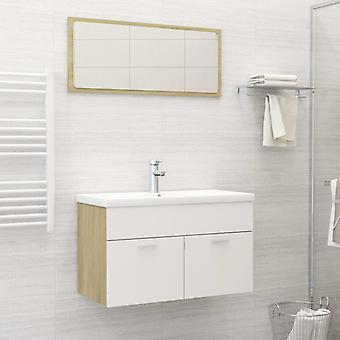 vidaXL 2-tlg. Badmöbel-Set Weiß und Sonoma-Eiche Spanplatte