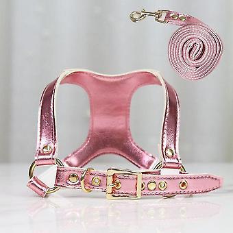 Zachte lederen halsband en riem set verstelbare lengtes riem voor kleine middelgrote grote honden maat M