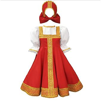 Russsian Dress Dance Costume Traditional Wear Red Sarafan White Blouse