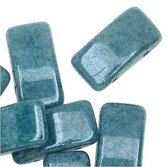 """חרוזי מוביל זכוכית צ'כית, מלבן 2 חורים 9x17 מ""""מ, 15 חרוזים, ברק כחול"""