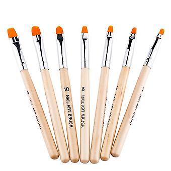 Nail art sculpture pen 7pcs wooden pole nail polish carving brush dotting tools