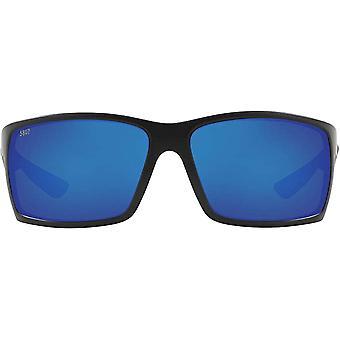 Costa Del Mar Mens Reefton Polarized Rectangular Sunglasses - Blackout/Blue Mirrored - 64 mm