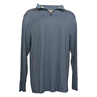 Lisa Rinna Collection Women's Top Reg Banded Neck Long Sleeve Blue A351129