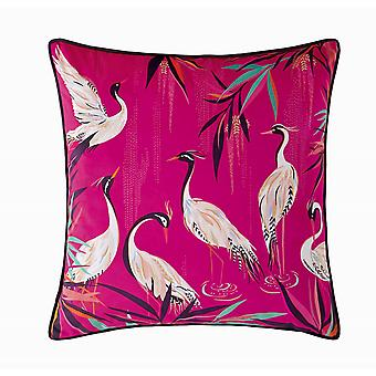 Heron Pink Feather Cushion By Sara Miller In Pink