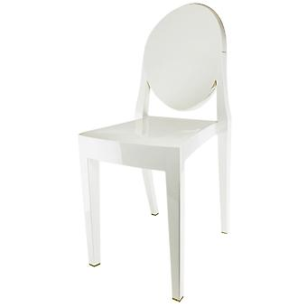 Fusion Living Ivory White Ghost Style Plastic Victoria Dining Chair - Set Of 4