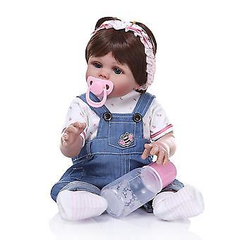 48Cm premie بيبي دمية تولد من جديد طفلة دمية كامل الجسم لينة السيليكون نابض بالحياة طفل لينة دمية حمام لعبة الصحيح تشريحيا
