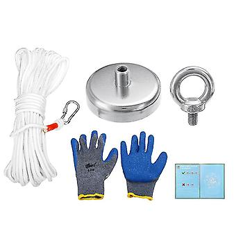 60mm leistungsstarke Magnet Metalldetektor Bergung Werkzeug Bergung Meer 130KG + Handschuhe