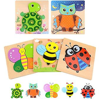 Wooden Puzzles For Toddlers,5 Pcs Animal Jigsaw Puzzles For Kids