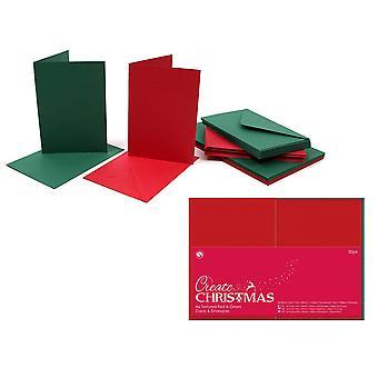 50 Röda och gröna A6 Julkort Blanks och kuvert | Kort gör tomma