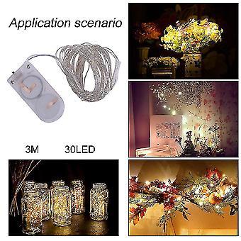 3m Водонепроницаемый 30 Led String Light Рождественская вечеринка Украшение IP66 с батареей