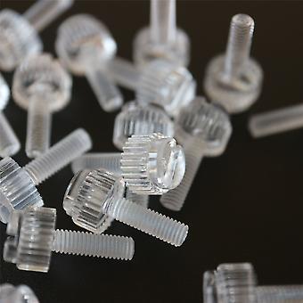 60x Klara akryltumskruvar, slitsade +räfflade M3 x 10mm