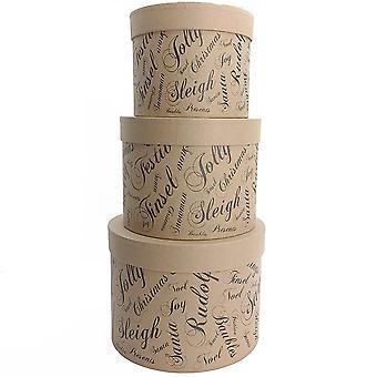 3 Kraft with Black Script Seasonal Greetings Hat Box Style Nesting & Stacking Gift Box Set