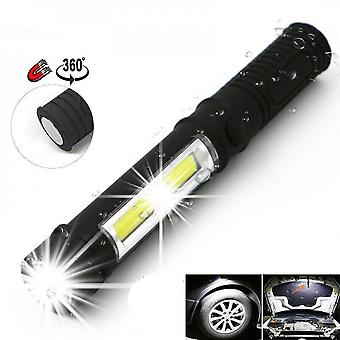 Bright 5000lm Cob Led Flashlight Pen Light Torch With Magnetic Base Use 3*aaa