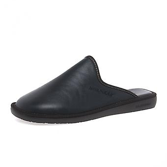Nordikas 131 Dublin Men's Luxury Leather Slippers In Black