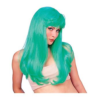 Green Glamour 1980s Disco St Patrick's Day Witch Women Costume Wig