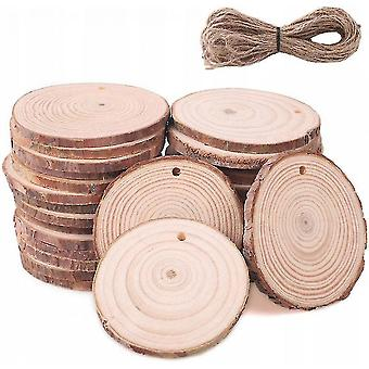 Decorative pom-poms slices of wood 20 pieces wood slices 10 cm with hole and jute rope of 10 meters slices of natural