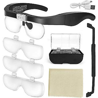 Head Mounted Magnifying Glasses With 4 Detachable Lense With Led Light