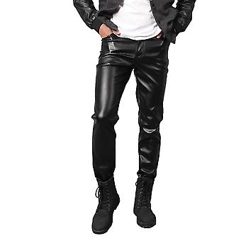 Silktaa Men's Solid Color Thickened Motorcycle Faux Leather Pants