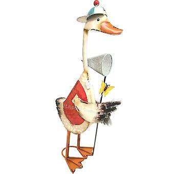Metal Standing Ornament Duck Fishing Net TF60010
