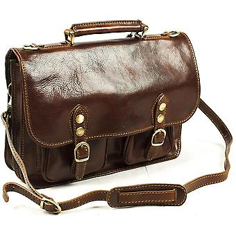 Genuine Italian Leather Flapover Briefcase Satchel Business Bag Brown Unisex