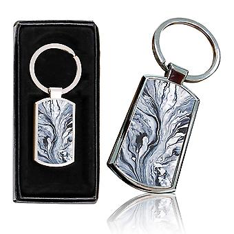 i-Tronixs - Premium Marble Design Chrome Metal Keyring with Free Gift Box (3-Pack) - 0043
