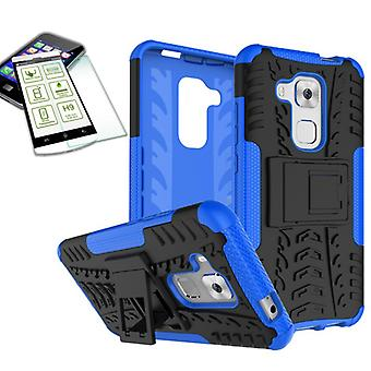Pedazo de caso 2 híbrido azul para Huawei Nova plus + funda de bolsa de vidrio templado