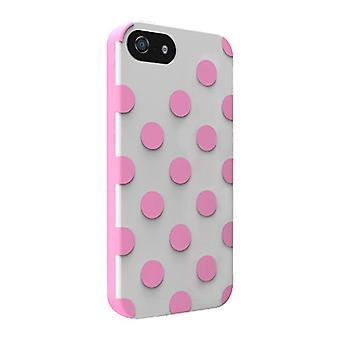 5 Pack -Technocel Dual Protection Case for Apple iPhone 5 / 5S /5SE - Polka Dots White/Pink