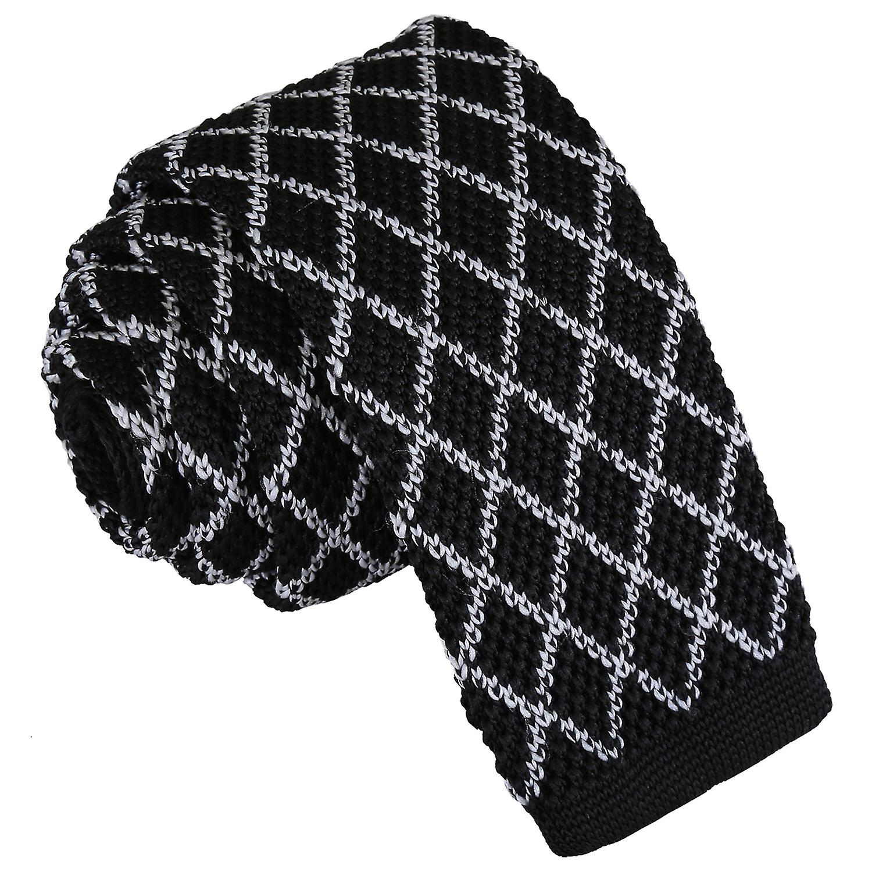 Mens Slim Tie Knit Knitted Geometric Diamond Grid Formal Modern Necktie by DQT
