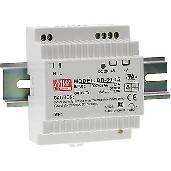 Mean Well DR-30-15 Rail mounted PSU (DIN) 15 V DC 2 A 30 W 1 x