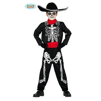Fantasia de esqueleto mexicana para crianças dia do traje de Halloween de El Muerto morto