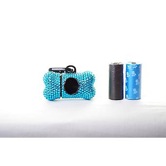 Blue Crystal Rhinestone Bone shaped Waste Bag Dispenser