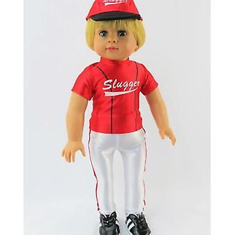 "18"" Doll Clothing, Red Baseball Slugger Outfit"