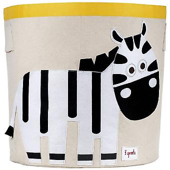 Toy store and laundry container Cylindrical organic cotton Zebra