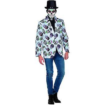 Skull-Jacke weiss Tag der Toten Herren Karneval Halloween Totenkopf