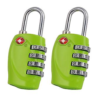 2 x TRIXES 4-Dial TSA Combination Padlock for Luggage Suitcases and Travel (Green)