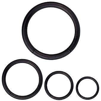 Segmentere Ring Piercing sorte krop smykker, tykkelse 1,2 mm | Diameter 6-12 mm