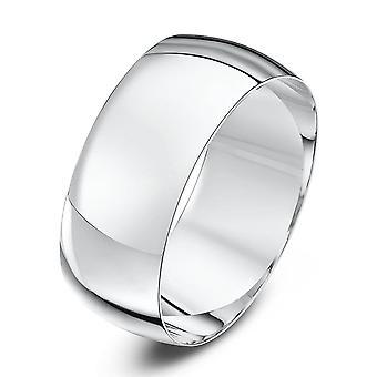 Ster bruiloft ringen 9ct wit goud licht D vorm 8mm trouwring