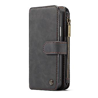 CASEME iPhone XR Retro läder plånboksfodral - Svart