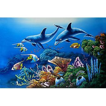 دولفين، رسم باليد لوحة زيتية على قماش، 90x60 سم