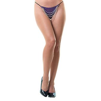 Honour Women's Sexy Thong in PVC Purple O/SNaughty Bedroom Lingerie, PVC