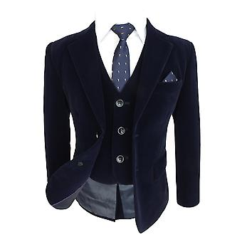 Boys Slim Fit Navy Velvet Suit