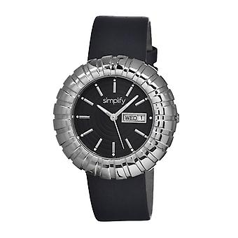Simplify The 2100 Leather-Band Ladies Watch w/Date - Silver/Black