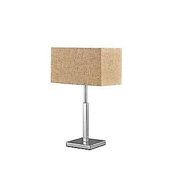 Ideal Lux - Kronplatz Chrom Tischleuchte mit Beige Leinwand Schatten IDL110875