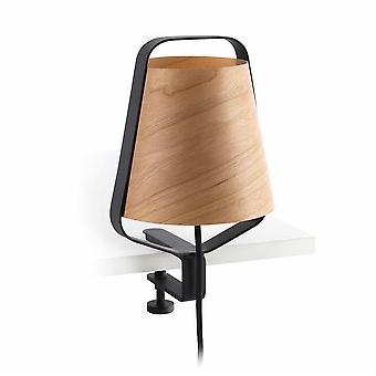 Faro - stod svart och trä lampa med klippet FARO29845