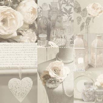 Rozen behang bloemen bloemen Love Hearts typografie boeket parels Beige wit