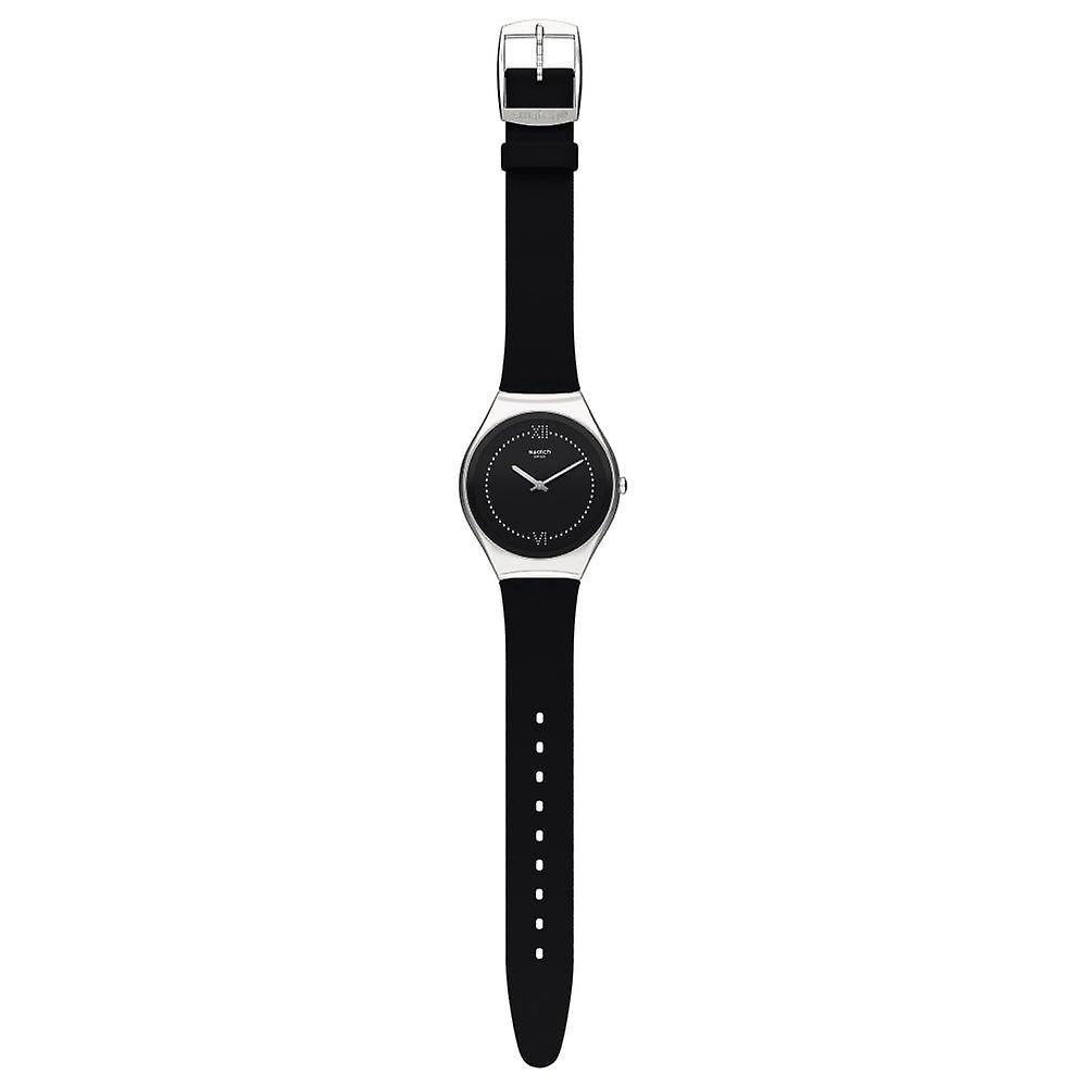Swatch Syxs109 Skinalliage Silver & Black Rubber Watch