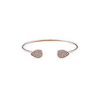 Belle & Beau Rose Gold Plated Crystal Teardrop Torque Bangle