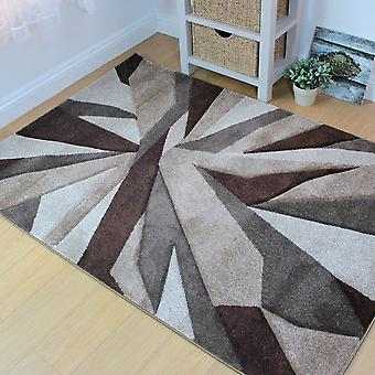 Hand Carved Shatter Beige Brown  Rectangle Rugs Modern Rugs