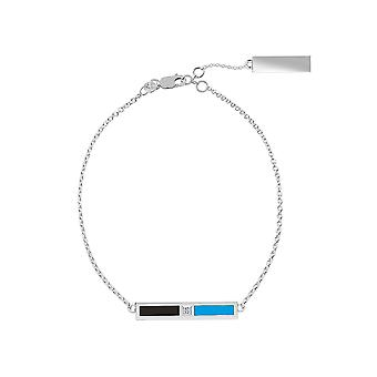 Miami Marlins Sterling Silver Diamond Bar Chain Bracelet In Black and Sky Blue