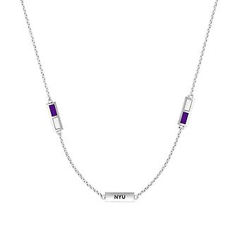 New York University Sterling Silver Engraved Triple Station Necklace In Purple & White